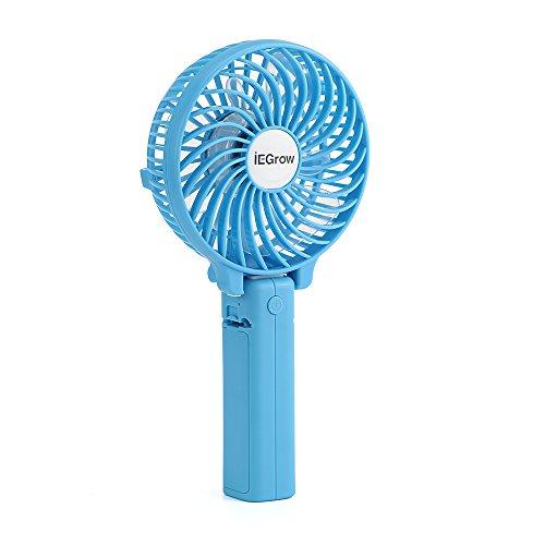 iEGrow USB Ventilator Leise Mini Handventilator Ventilatoren Lüfter mit Batterie Farbe Blau