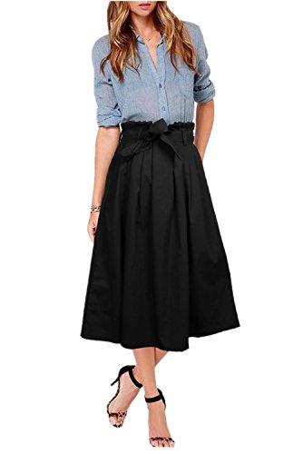 Uideazone Frauen Mädchen Hoch Waisted Röcke Falten Flared Büro Röcke 14