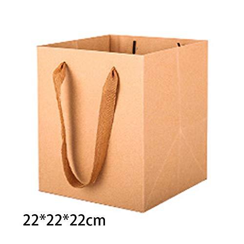 Blumen Fur Bag (FADDR 6pcs Square Bottom Papiertüte, Kraft Tote Bag mit Band behandelt Blumen Geschenk Candy Papiertüte Brottaschen für Hochzeiten(22X22X22cm,Braun))