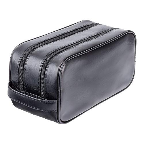 Visconti necessaire da viaggio in pelle per cosmetici da uomo 'Heritage' Luxury Leather Travel Kit (HT100): (VT Nero ( vintage Black))