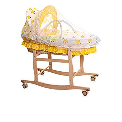 GOUO@ Baby Moses Basket Newborn Car Portable Baby Sleeping Basket Straw Cradle Bed Infant Portable Travel Beds Extended Version for 0-9 Months Baby