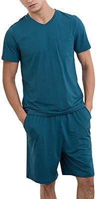 Dolamen Pijamas para Hombre, Pijamas Hombre Primavera verano, Hombre camisones deportes Corta, 100% Algodón suave y cálido Manga Corta y pantalones Cortos