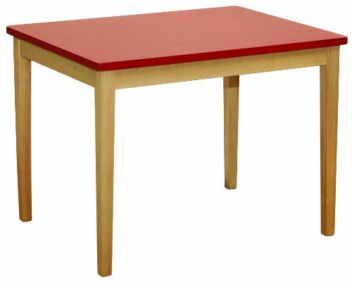 roba Kindertisch, aus Massivholz gefertigt, Tischplatte rot lackiert -
