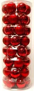Brauns-Heitmann 86513 Assortiment XXL de boules de Noël Verre 6 cm 48 boules Rouge