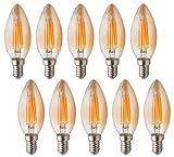 RClorBulb(Packung mit 10) 4W E14 Dimmbar LED Filament braun Kerzenlampe, Warmweiß 2700K C35, AC 220V Antike Kronleuchter Lampe, SES Kerze Glühbirne für Kronleuchter