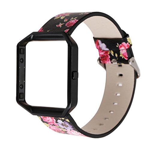 squarex Hohe Qualität Floral Lederband Ersatz Armband & Rahmen Halterung Shell für Fitbit Blaze, damen, a, AS Show
