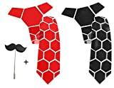 #7: Reversible hex tie Glossy red and matte black Honeycomb style by AXLON