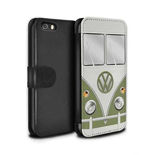 STUFF4 PU-Leder Hülle/Case/Tasche/Cover für Apple iPhone SE / Maus Grau Muster / Retro T1 Wohnmobil Bus Kollektion Mango Grün