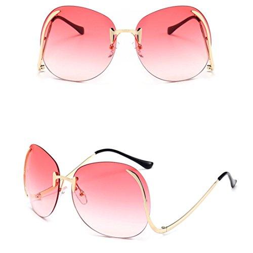 e Sonnenbrille Rosennie Frauen Männer Vintage Retro Brille Unisex Mode Aviator Spiegel Objektiv Sonnenbrille UV400 Candy Farbe Randlose Persönlichkeit Große Sunglasses (Rosa) (Retro 70er Jahre Mode)