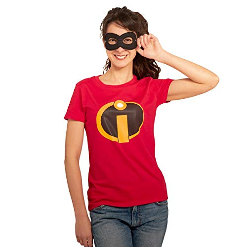 Kostüm Incredibles Frauen - Unglaubliches Superhelden Karneval Kostüm mit Maske Damen T-Shirt Slim Fit Large Rot