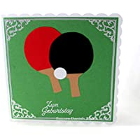 Grußkarte Tischtennisschläger, Tischtennis, Ball, ca. 15 x 15 cm