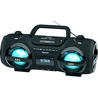 AEG SR 4359 Stereoradio-Soundbox CD/MP3/USB-Port/Card-Slot/AUX-IN mit Bluetooth inkl. 7 Farben Discolicht, 2x50 W+passiver Bass