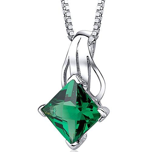 Revoni Damen-Halskette 925 Sterling Silber 1 Smaragd grün 46 cm PER-SP10744