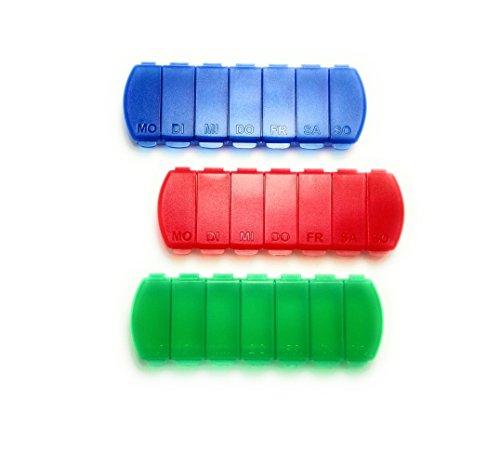 MAXBOX - Pillendosen Set für 7 Tage, Pillenbox mit getrennten Fächern (3 Stück, blau rot grün)