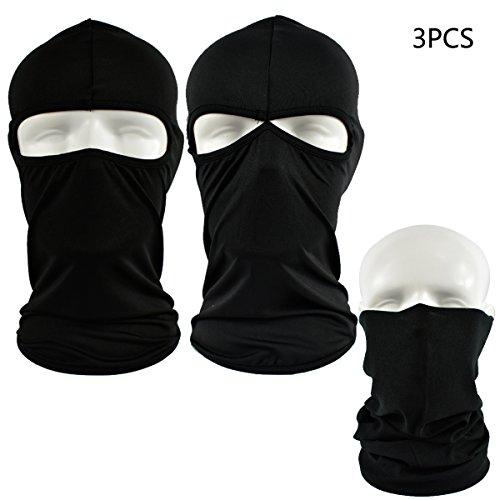 QMFIVE Taktische Sturmhauben Maske, Taktische Airsoft Outdoor - Jagd - Ninja - Hood Tarnung Flexible voll schützende Maske (Schwarz) -