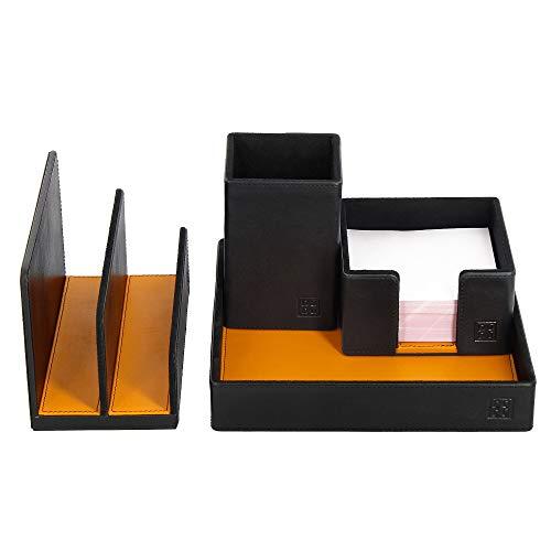 DUDU Schreibtisch-Set aus Leder für das Büro 4-teilig mit Taschenleerer Stifthalter Briefhalter Zettelbox Schwarz -