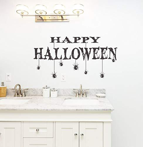 Halloween Party Happy Halloween Zitate wandbild Home Special Decor Zitate mit Spinnen Vinyl Kunst tapete Aufkleber 57 * 93 cm (Zitate Happy Halloween-bilder Und)