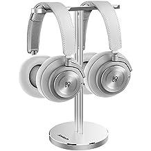 Jokitech - Soporte universal de aluminio para dos pares de auriculares, diseño moderno, ideal para escritorio, permite colocar auriculares de videojuegos de todos los tamañosAuriculares