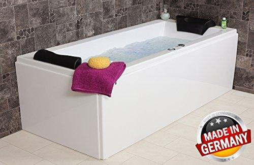 Whirlpool Badewanne Relax Basic MADE IN GERMANY 180 / 190 / 200 x 80 / 90 cm mit 16 Massage Düsen + Unterwasser LED Beleuchtung / Licht + Balboa + OHNE Armaturen