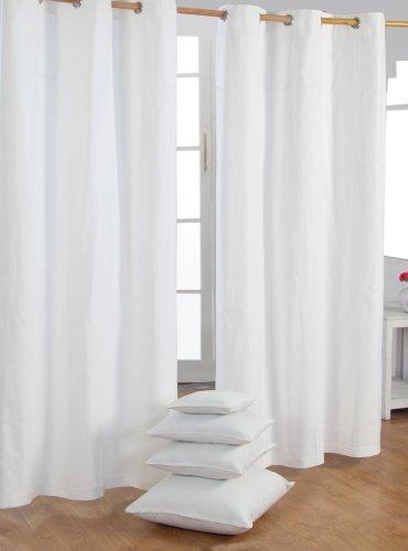 Homescapes Ösenvorhang blickdicht wollweiss Dekoschal 2er Set Plain Colour Breite 137 x Länge 228 cm Vorhang Paar 100% Baumwolle