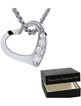 Herzkette Silber von AMOONIC mit *SWAROVSKI Zirkonia* 925 Geschenk Freundin Frauen Kette Zirkonia Stein Damen...