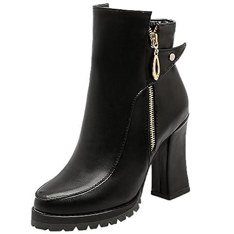 HooH Femmes Bottines bout pointu Combat Plateforme Talon haut Boots Noir 35 EU