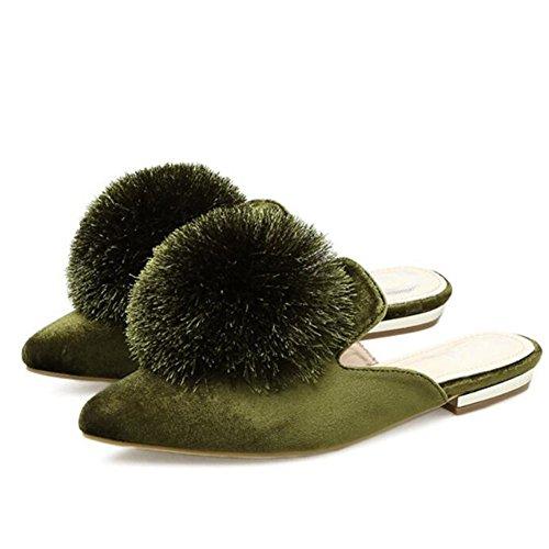 GAOLIXIA Femme Chaussures Tongs Printemps Eté Daim Sandales Peluche Pantoufles Noir Vert Rose Bourgogne