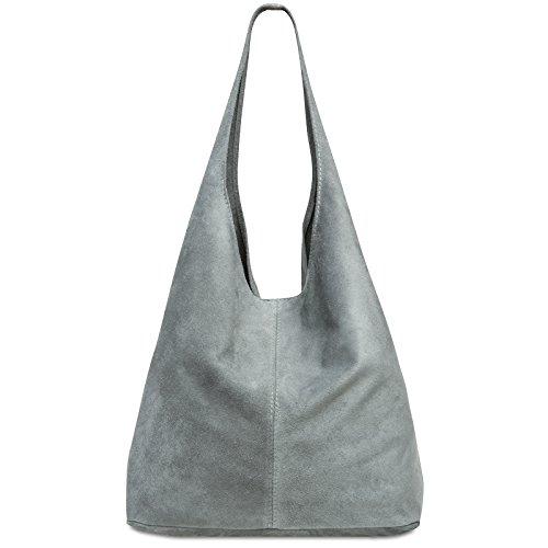 CASPAR TL767 großer Damen Leder Shopper, Farbe:hell grau, Größe:One Size -