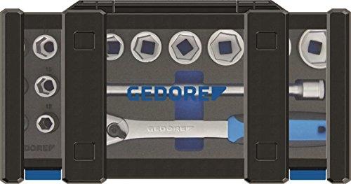 GEDORE 19 DMU-20 Steckschlüsselsatz 1/2″ mit Umschaltknarre / 15-tlg. Stecknuss-Satz mit 1/2″-Steckschlüsseln und umschaltbarer Ratsche & Verlängerung/Adapter