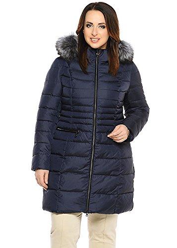 Damen Daunenjacke Winterjacke mit Echtfellbesatz (42, blau)