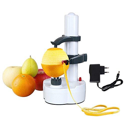Vicloon Electric Peeler Kartoffelschäler, Elektrischer Apfelschäler Gemüseschäler für Obst & Gemüse, Edelstahl-Klinge (Weiß Enthalt Aufladeeinheits)