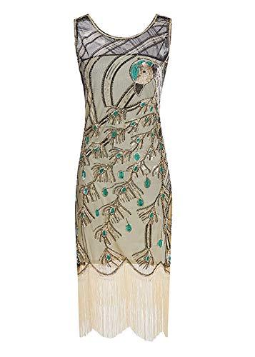 WNLZL Frauen Flapper Kleid 1920S Gatsby Art Deco Fransen Pfau Pailletten Mesh Cocktail Abendkleid,Gold,XL (Fransen-kleid-gold)