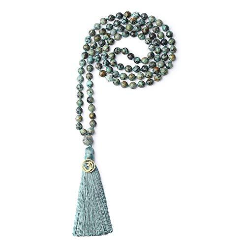 coai Unisex Handgeknüpft 108 Mala Yoga Kette Buddhistische Halskette Gebetskette aus Facettierte Afrikanische Türkis mit Quaste und OM Anhänger