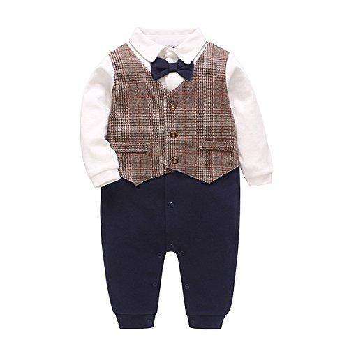 Bebone Baby Junge Kleidung Taufe Hochzeit Smoking Neugeborenen Anzug (Braun, 3-6 Monate/66cm)