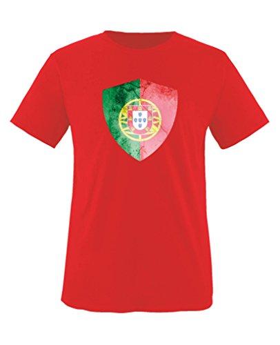 Comedy Shirts - Portugal Trikot - Wappen: Groß - Wunsch - Kinder T-Shirt - Rot/Weiss Gr. 122-128