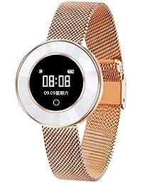 Hukz X6 - Reloj de pulsera inteligente para niña, con presión arterial, saturación de oxígeno en sangre, pulsómetro, color rose gold 1xArmband