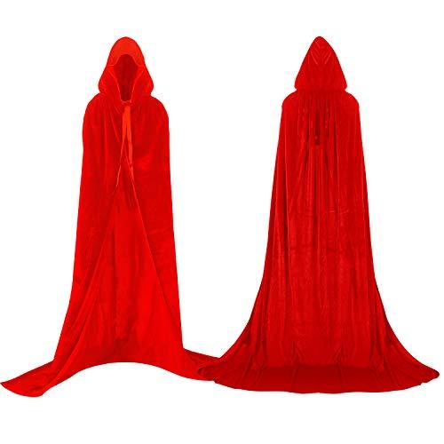 Labellevie Umhang mit Kapuze Lange SAMT Cape Vampir Kostüm Halloween Erwachsener Unisex- Gr. Small, Rot