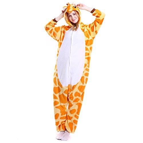 Pyjama Animal Kiguruma Grenouillere Combinaison Unisex Cosplay Costume Déguisement Vêtement de Nuit (L, Giraffe)