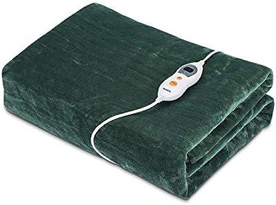 Manta eléctrica BASEIN, doble tela, franela suave, funda de colchón 150 * 190CM, temperatura ajustable 9, temporizador de seguridad, lavable, invierno cálido, Halloween, color navideño