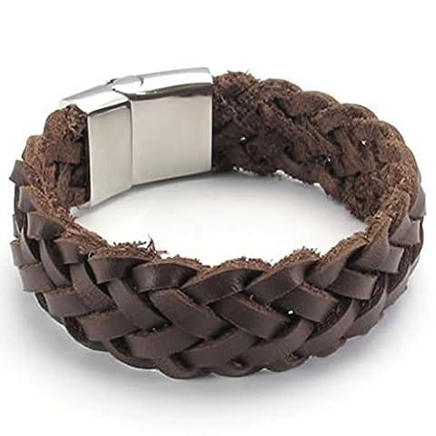 Epinki Stainless Steel Bracelet, Mens Weave Circle Bracelet Brown Length 8 Inch