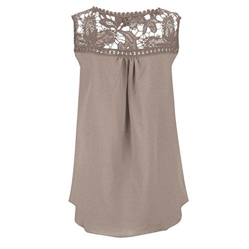 Tops, FEITONG Femmes Summer Lace Spliced en mousseline de soie Sans Manches Blouse Vest Kaki