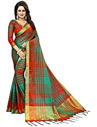 Calendar Women's Cotton Silk Multicolor Saree With Unstitch Blouse Piece