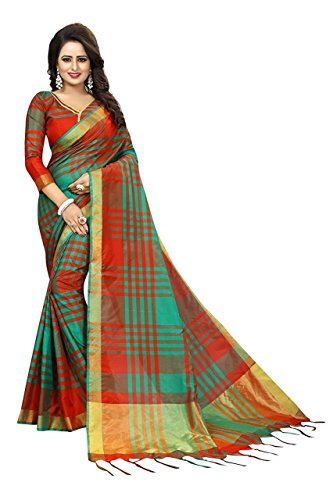 Krishna Emporia Cotton Silk Saree With Blouse Piece (New Collection Saree T4_Red_Free...
