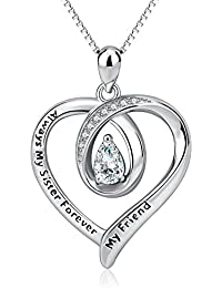 "Sister Necklace Engraved""Always My Sister Forever My Friend"" 925 Sterling Silver Heart Pendant Necklace Jewellery"