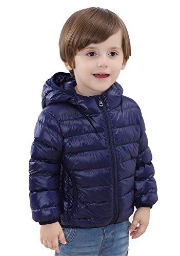 QCHENG Kinder Junge Mädchen Ultraleichte Daunenjacke mit Kapuze Leicht Verpackbar Herbst Winter Warme Jacket Steppjacke Daunenmantel Marine 100cm(Höhe:86-90cm)