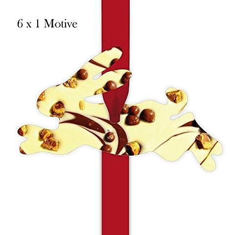 6 leckere Geschenkanhänger | Deko Geschenkkärtchen | Girlanden Anhänger mit Schokoladen Foto - in Hasen Form 11,5 x 7cm