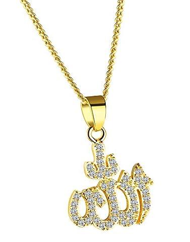 ALEXTINA Damen Arabisch Muslim Schmuck Vereist Aus Kubisch Zirkonia Allah Anhänger Halsband Halskette Gold Ton
