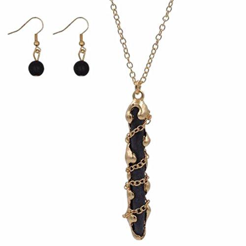 QIYUN.Z Dame Womens Collier Collier Nature Pierre Collier Pendentif Bijoux Boucles D'Oreilles Or (Noir)