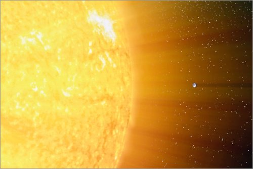 Forex-Platte 120 x 80 cm: Die relative Größe der Sonne und der Erde von Stocktrek Images / Stocktrek Images