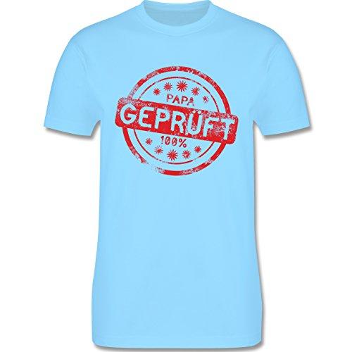 Eltern - Papa geprüft - L190 Herren Premium Rundhals T-Shirt Hellblau